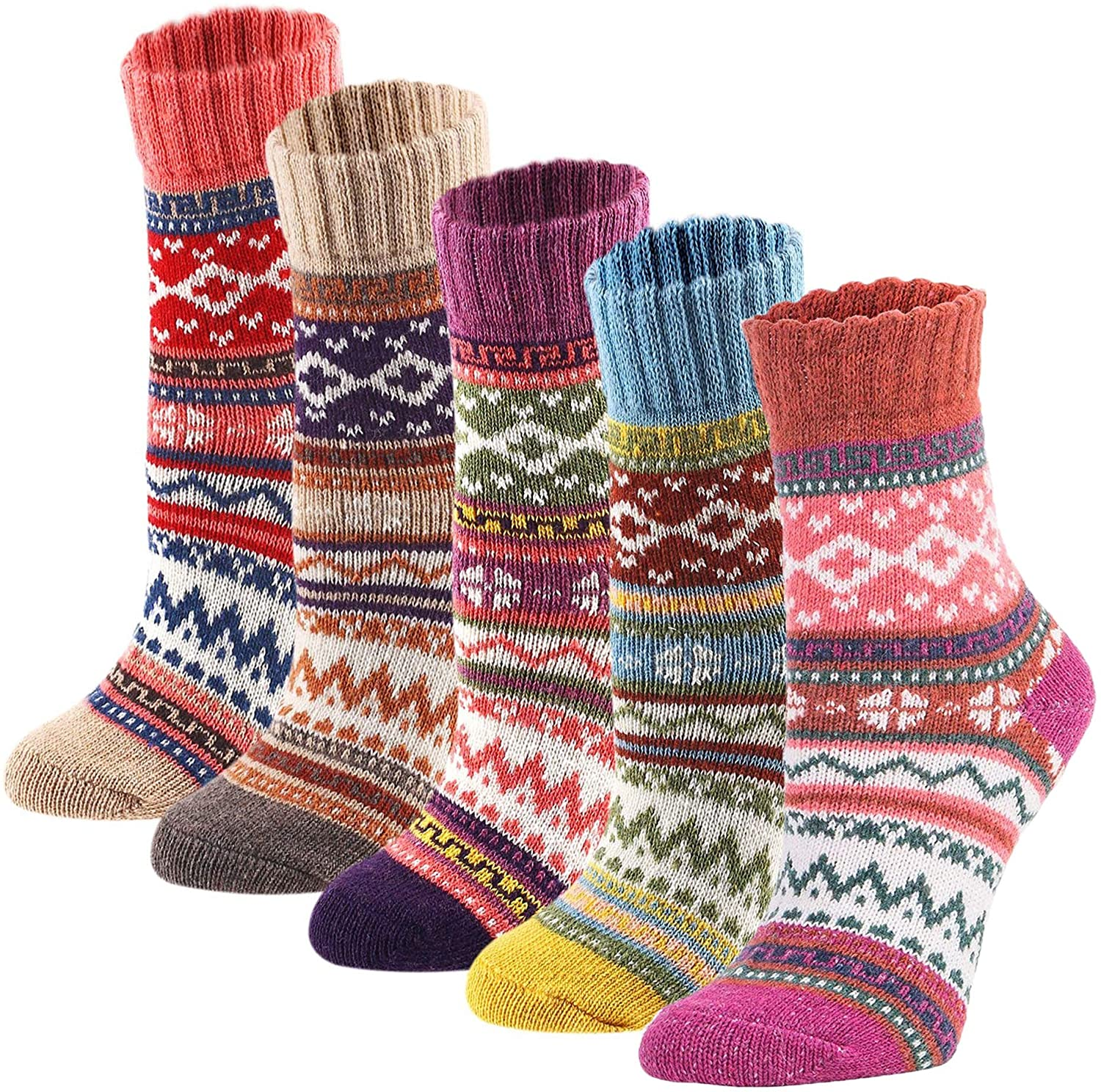 5 Pack Womens Socks Vintage Winter Soft Warm Cold Knit Wool Crew Socks with Gift Box