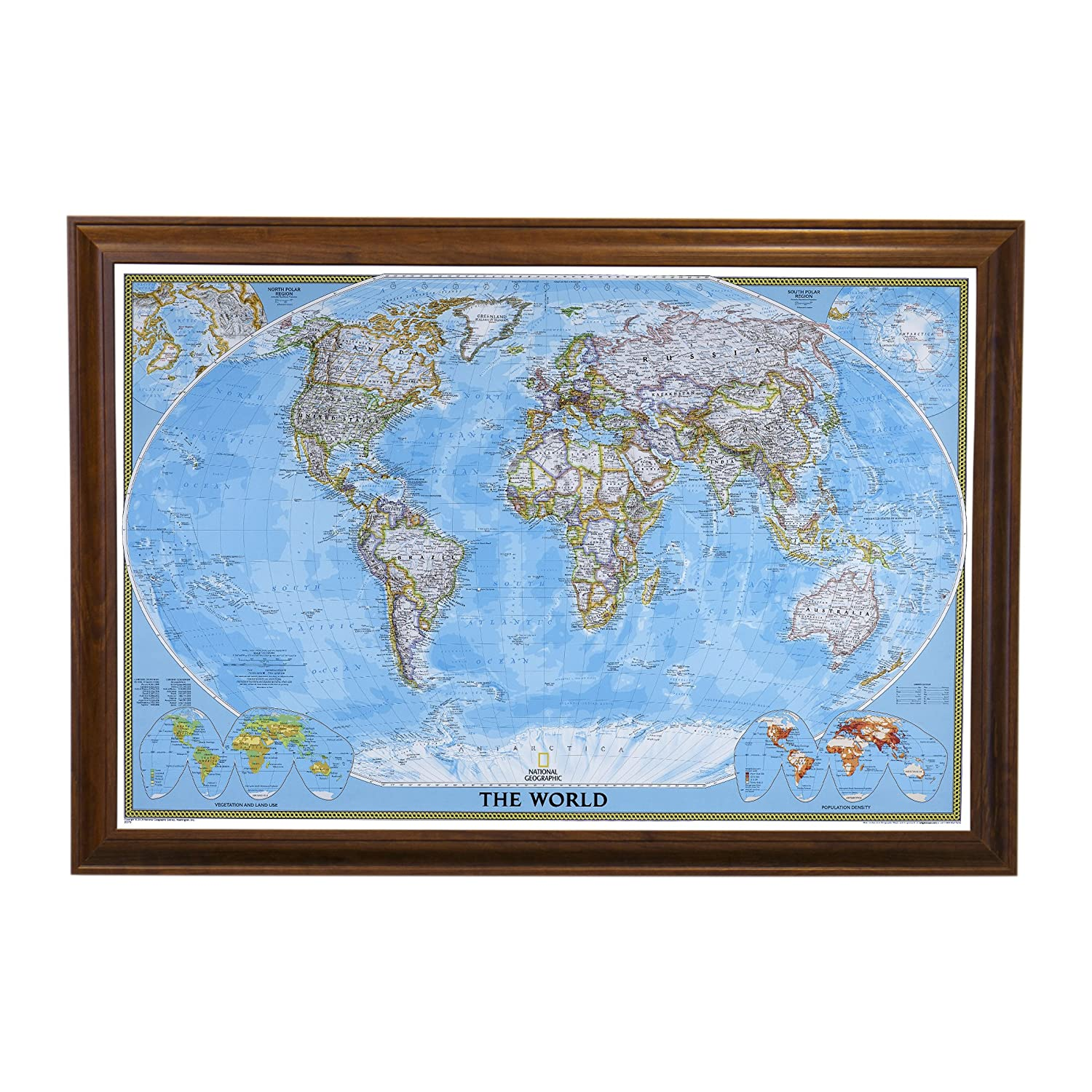 Classic World Push Pin Travel Map with Brown Frame and Pins 24 x 36 Push Pin Travel Maps