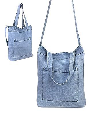 b8b5523c87a9 Hoxis Multifunction Pocket Soft Denim Shoulder Handbag Womes Shopper Purse  (Blue)