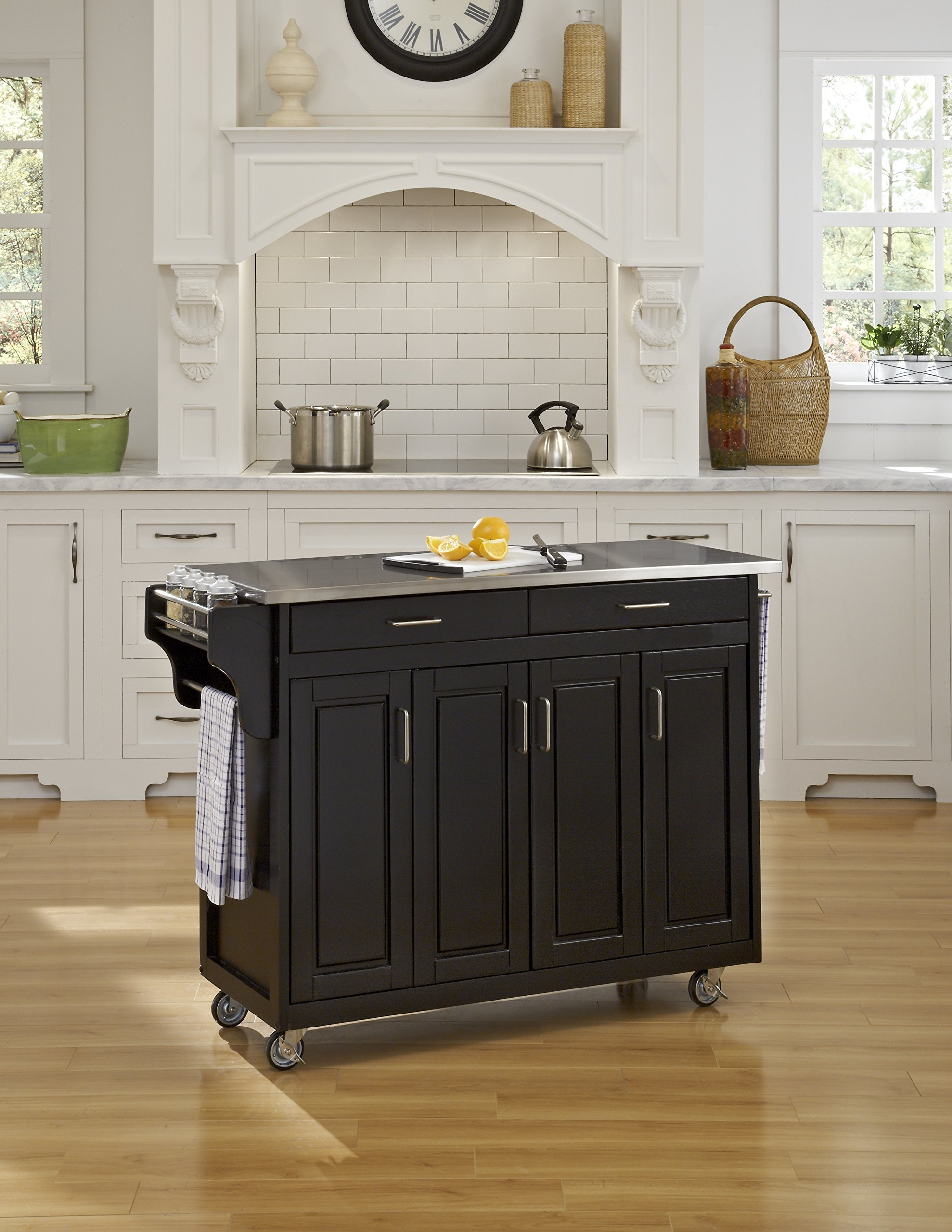 Home Styles 9200-1042 Create-a-Cart 9200 Series Cabinet Kitchen Cart with Stainless Steel Top, Black Finish