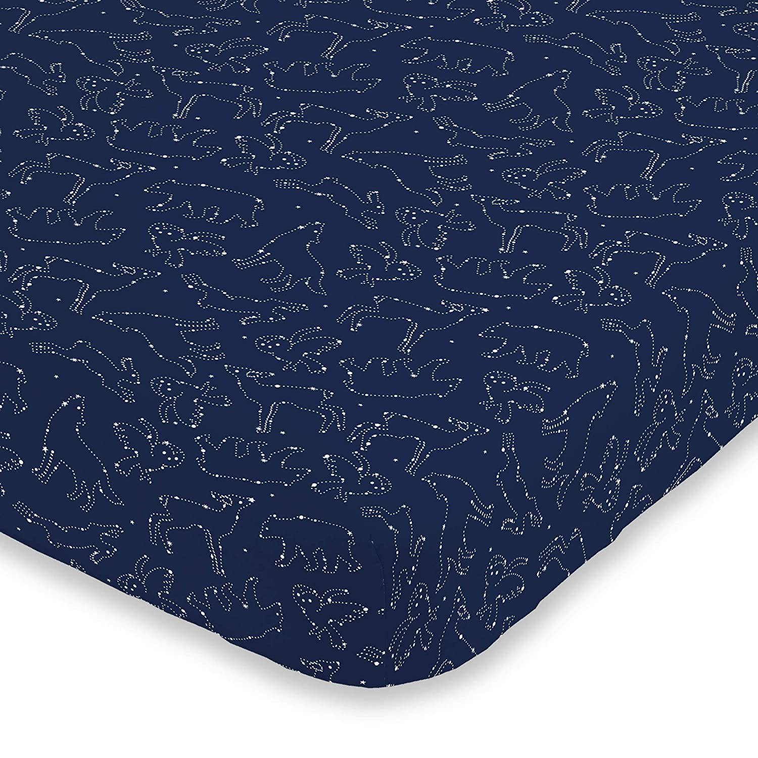 NoJo Super Soft Navy & White Cosmic Constellations Nursery Crib Fitted Sheet, Navy, White