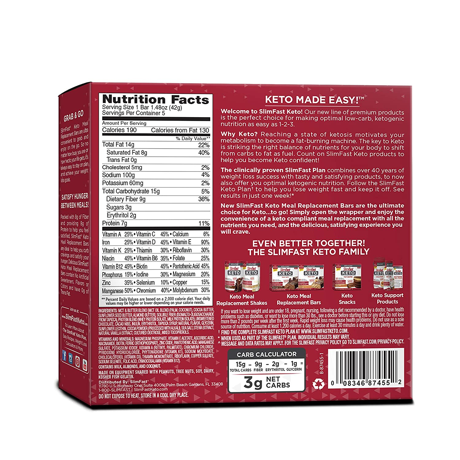 SlimFast 4 Piece Keto Meal Replacement Bar Triple Chocolate, 2.7 Pound