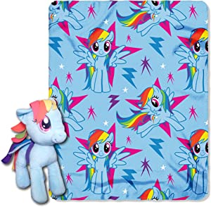 "Hasbro My Little Pony, ""Rainbow Dash"" Hugger and Fleece Throw Blanket Set, 40"" x 50"", Multi Color"