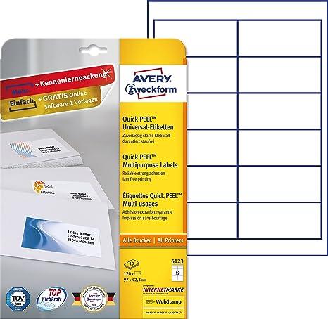 Avery Zweckform 6123 Blanco etiqueta de impresora - Etiquetas de impresora (Blanco, A4,