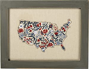 Primitives by Kathy Cathy Heck Studios Stitchery Framed Canvas Wall Décor, 11 x 8.5-Inches, Floral USA