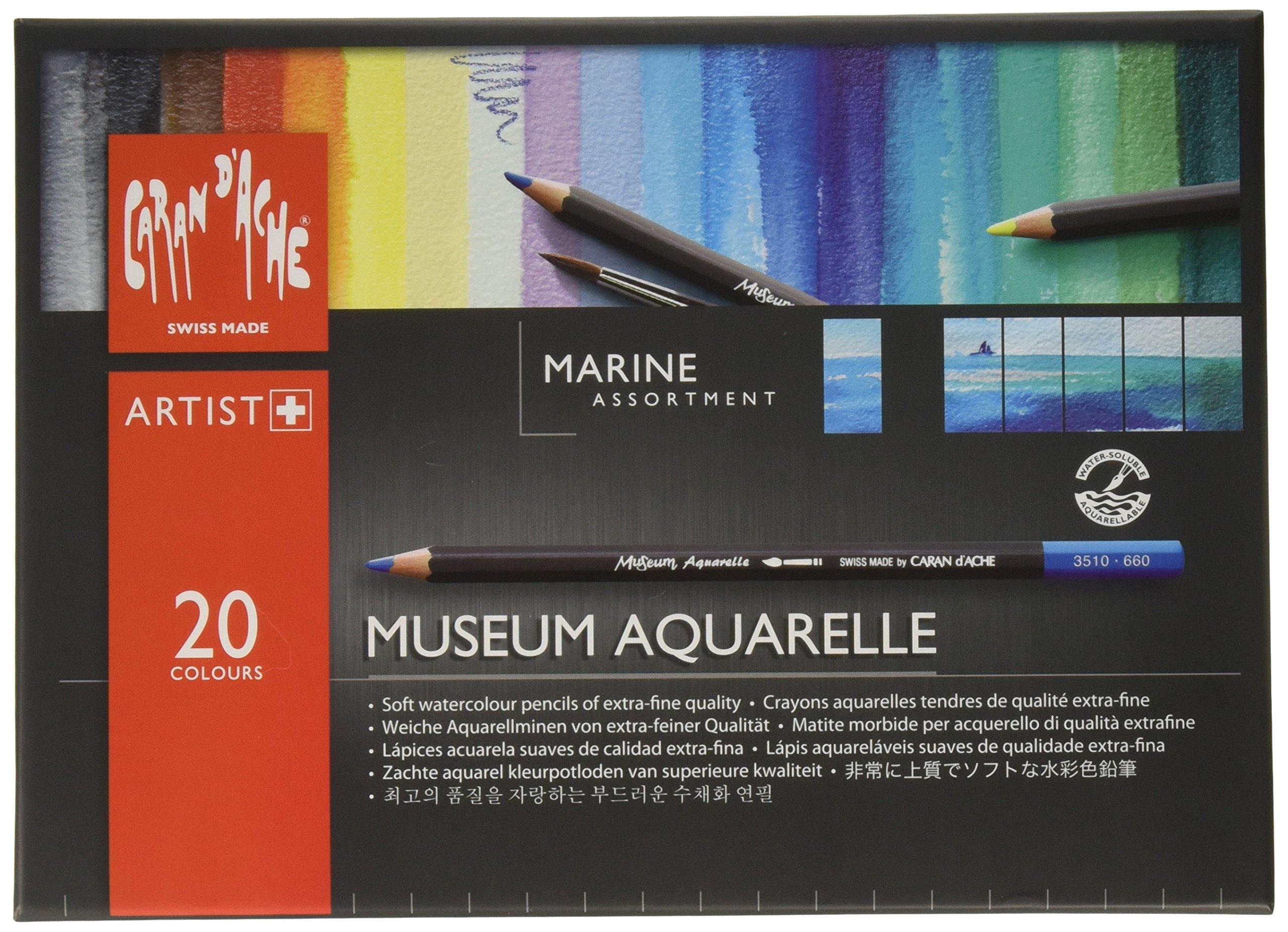 CARAN DACHE Museum Aquarelle Juegos de 20 Lápices Marinos