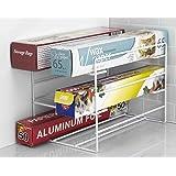 Home Basics 3 Tier Heavy Duty Kitchen Countertop or Cabinet Wrap Organizer for Food Wrap, Foil, Wax Parchment Paper, Plastic