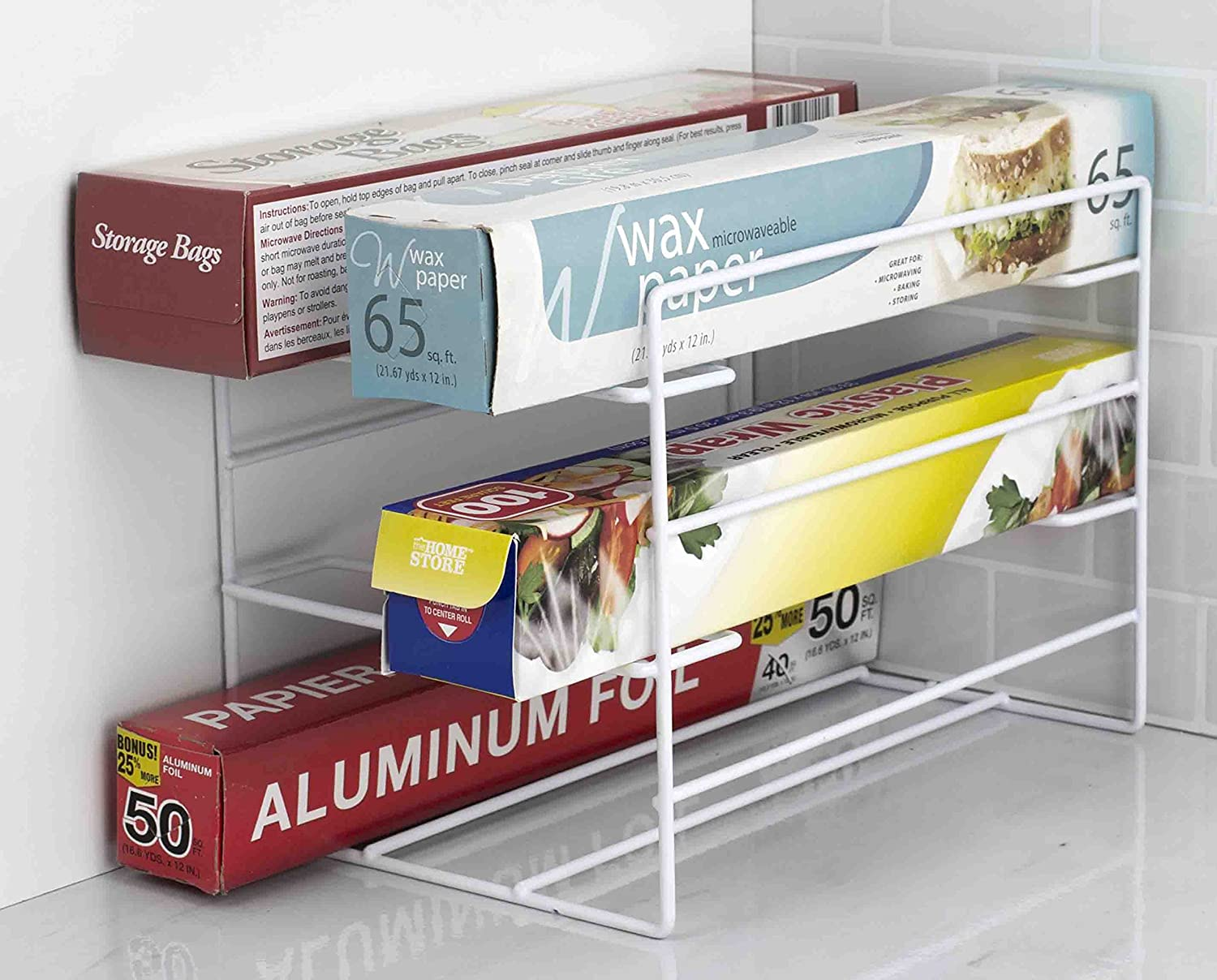 Home Basics 3 Tier Heavy Duty Kitchen Countertop or Cabinet Wrap Organizer for Food Wrap, Foil, Wax Parchment Paper, Plastic Bags White Finish