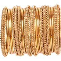 Touchstone New Golden Bangle Collection Indian Bollywood Kundan Look Yellow Rhinestone Golden Beads Metal Bangle…