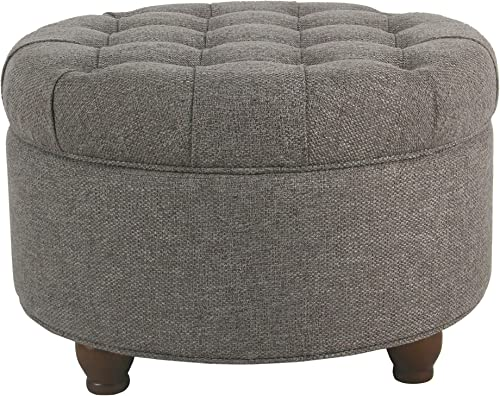 HomePop Large Button Tufted Round Storage Ottoman