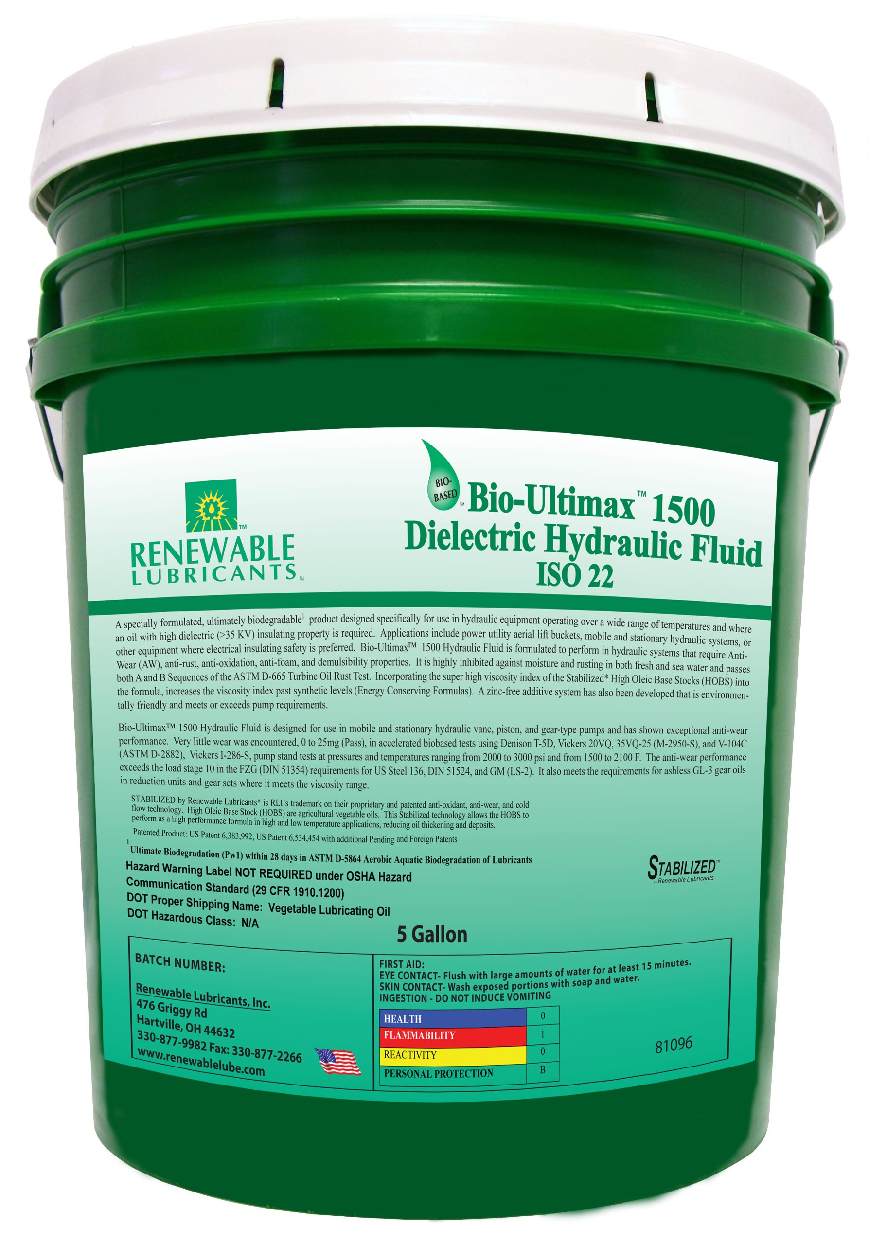 Renewable Lubricants Bio-Ultimax 1500 ISO 22 Dielectric Hydraulic Fluid, 5 Gallon Pail