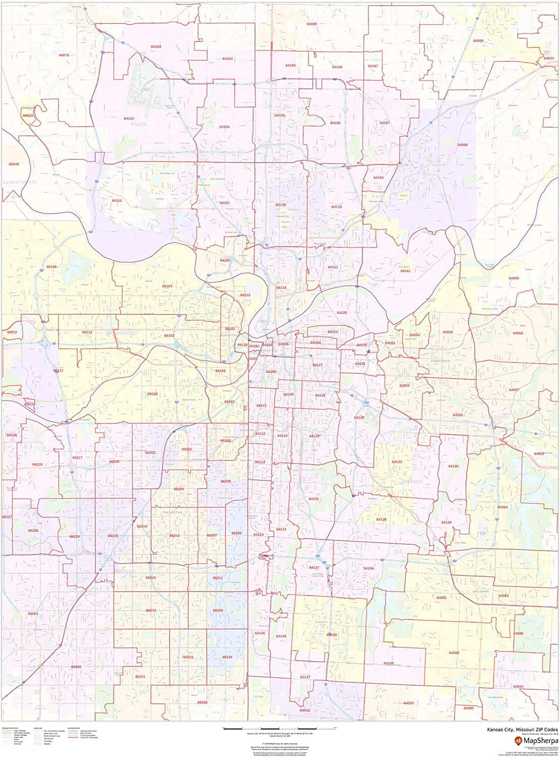 kansas city kansas zip code map Amazon Com Kansas City Missouri Zip Codes 36 X 48 Laminated kansas city kansas zip code map