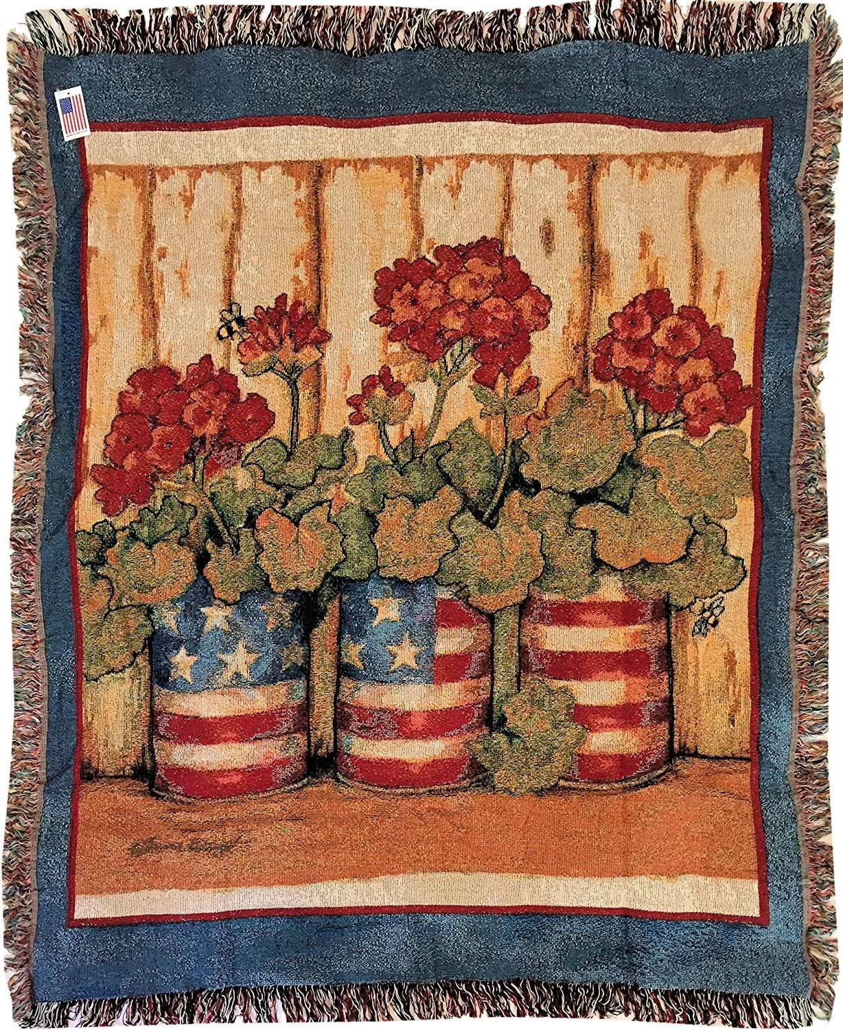 """Geranium Flag Cans Fringed Cotton Tapestry Throw Blanket  50x60/""""  Blue Red Green"""