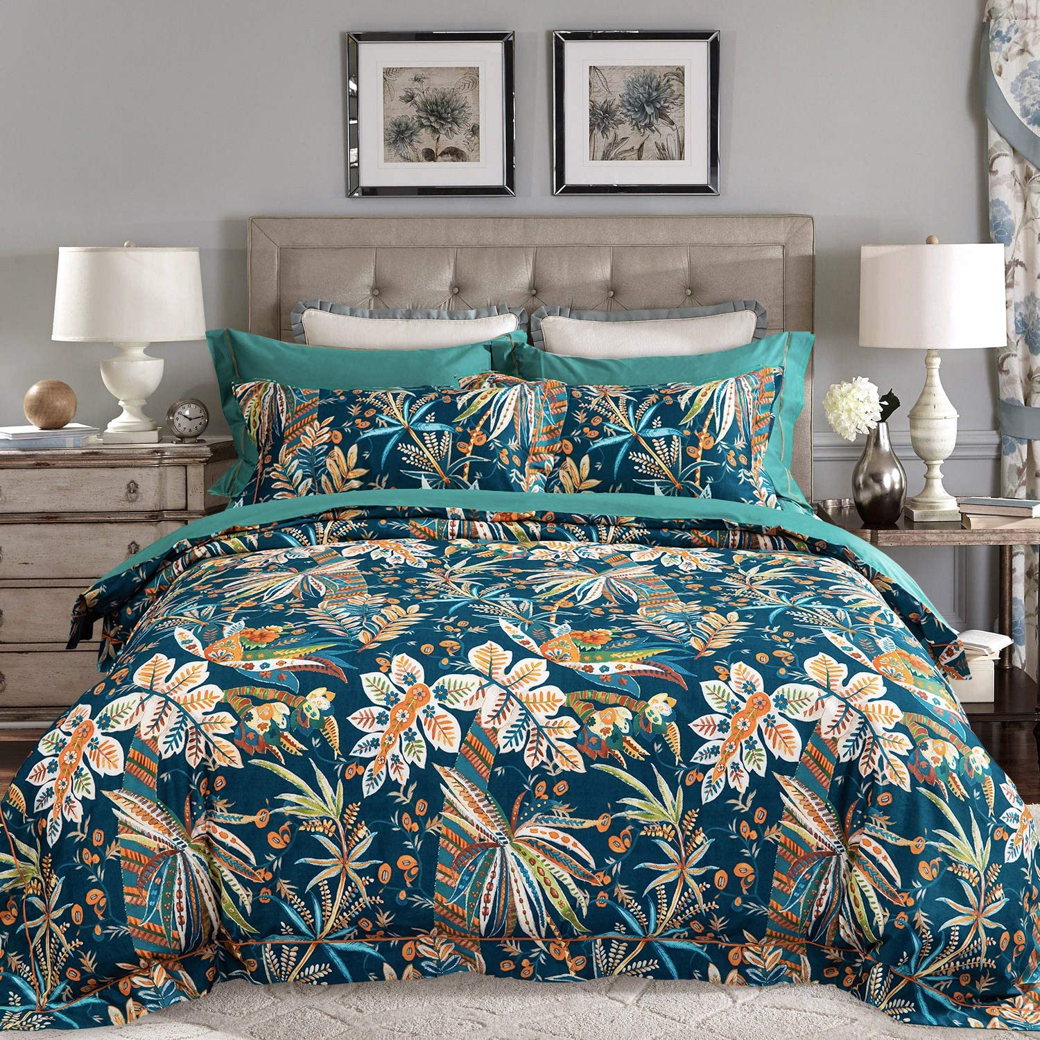 JELLYMONI Green Flower 100% Egyptian Cotton Duvet Cover Set,3 Pieces Leaves Pattern Floral Print Bedding Set with Double Zipper Closure. Reversible Duvet Cover King Size(104×90Inch)(No Comforter)