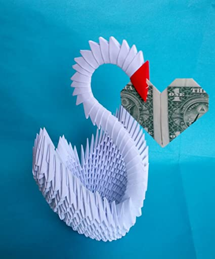 Amazon 3d Origami Swan With An Origami Heart Other Products