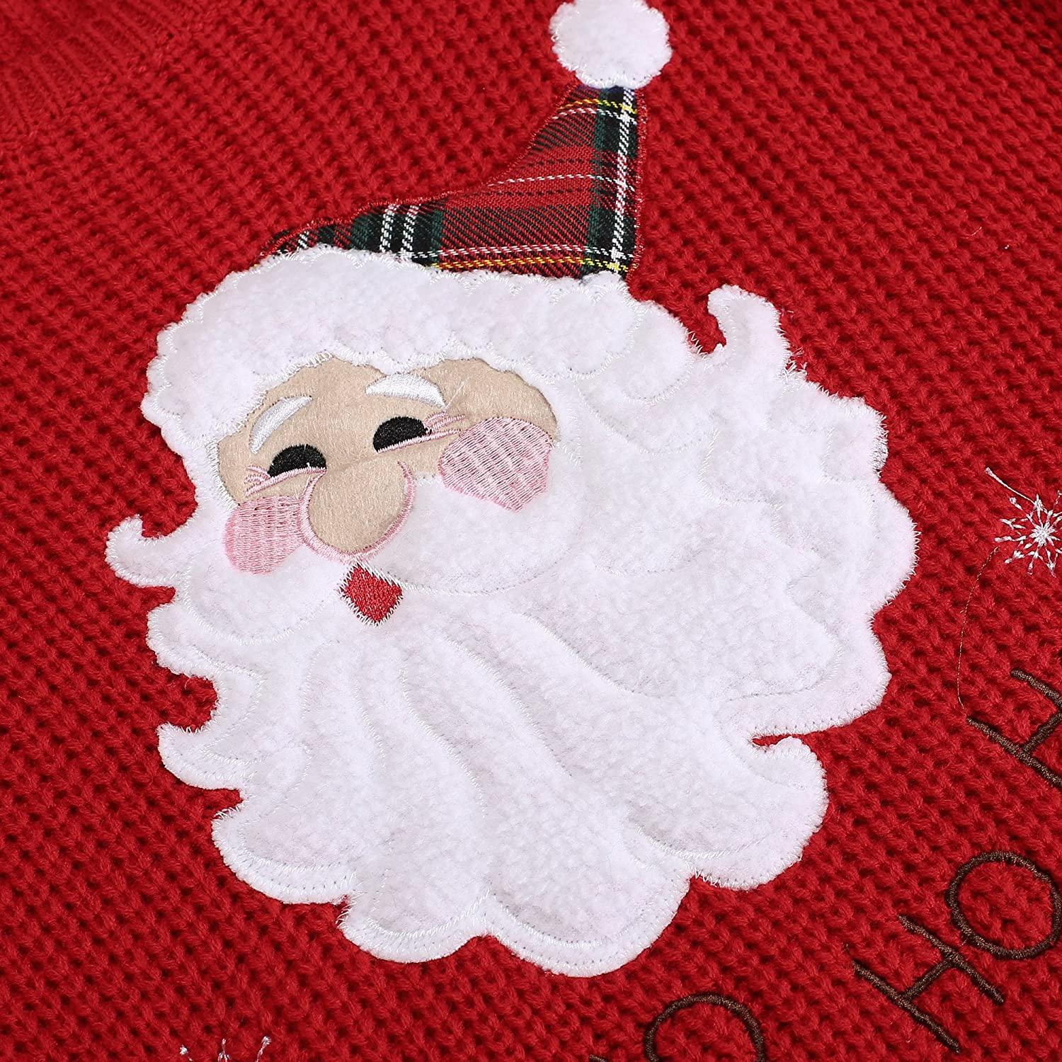 Eshion Girl Christmas Cute Santa Embroidered Knitted Pullover Sweater