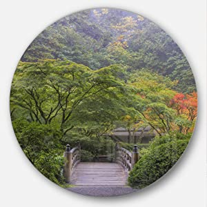 Designart Foggy Dawn in Japanese Garden-Landscape Photo Large Metal Wall Art - Disc of 11, 11'' H x 11'' W x 1'' D 1P, Green