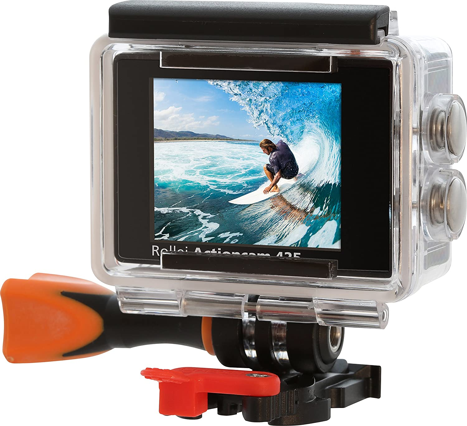 720p HD Video Resolution with Underwater Case and Bobber Black Rollei Actioncam 300 Plus