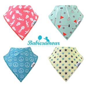 BabiesAmour 4 Pack Bandana Baby Boy and Girl Bibs (Style 15) - Extra Soft and Quickly Dry Burp, Eating and Drool Bib for Newborn, Infant and Toddler - Food Catcher, Teething and Led Weaning Cloths