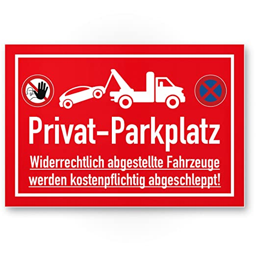 Privado Aparcamiento parkverbot - Letrero (Rojo, 30 x 20 cm ...