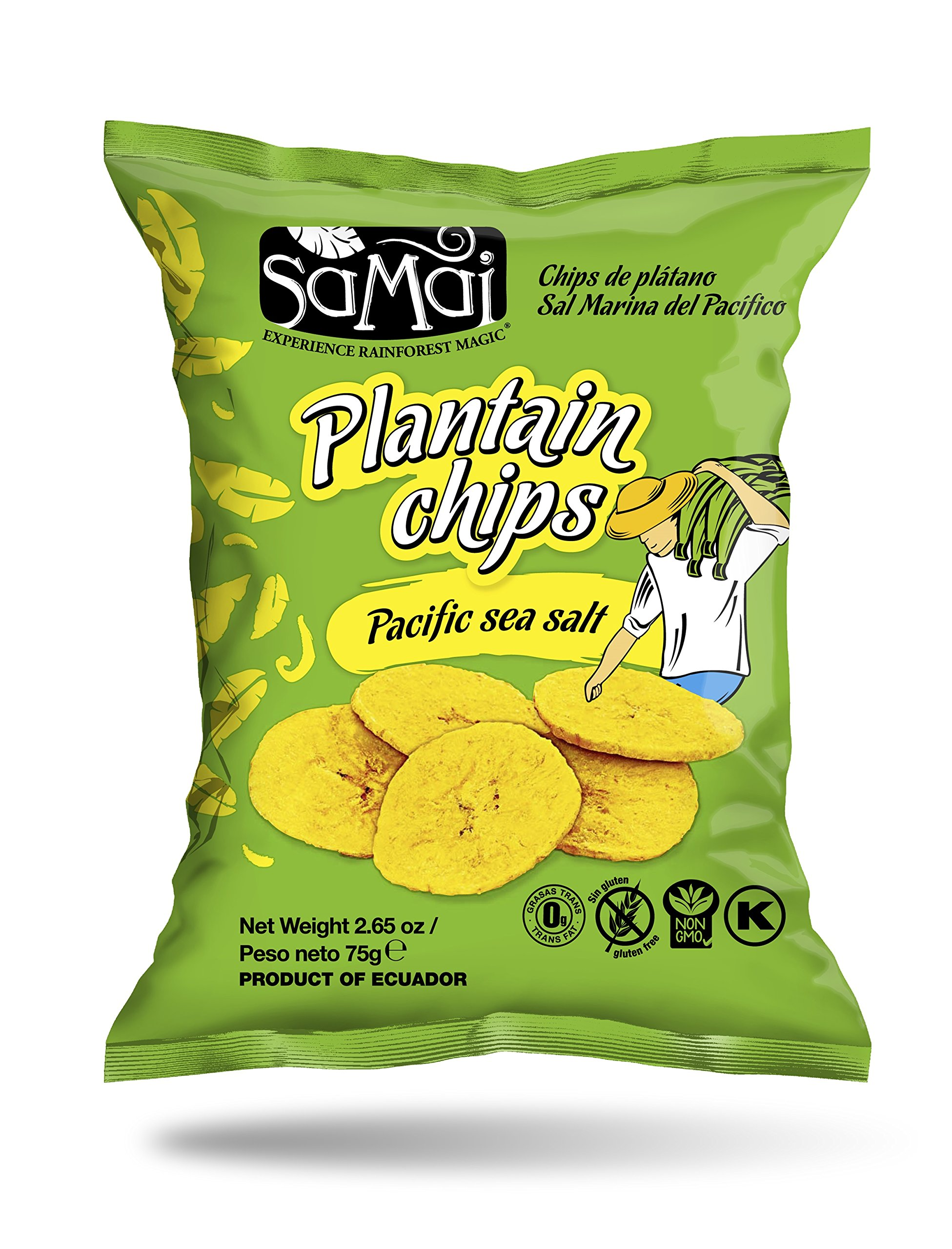 Samai Plantain Chips Pacific Sea Salt 2.65 oz (Pack of 15)