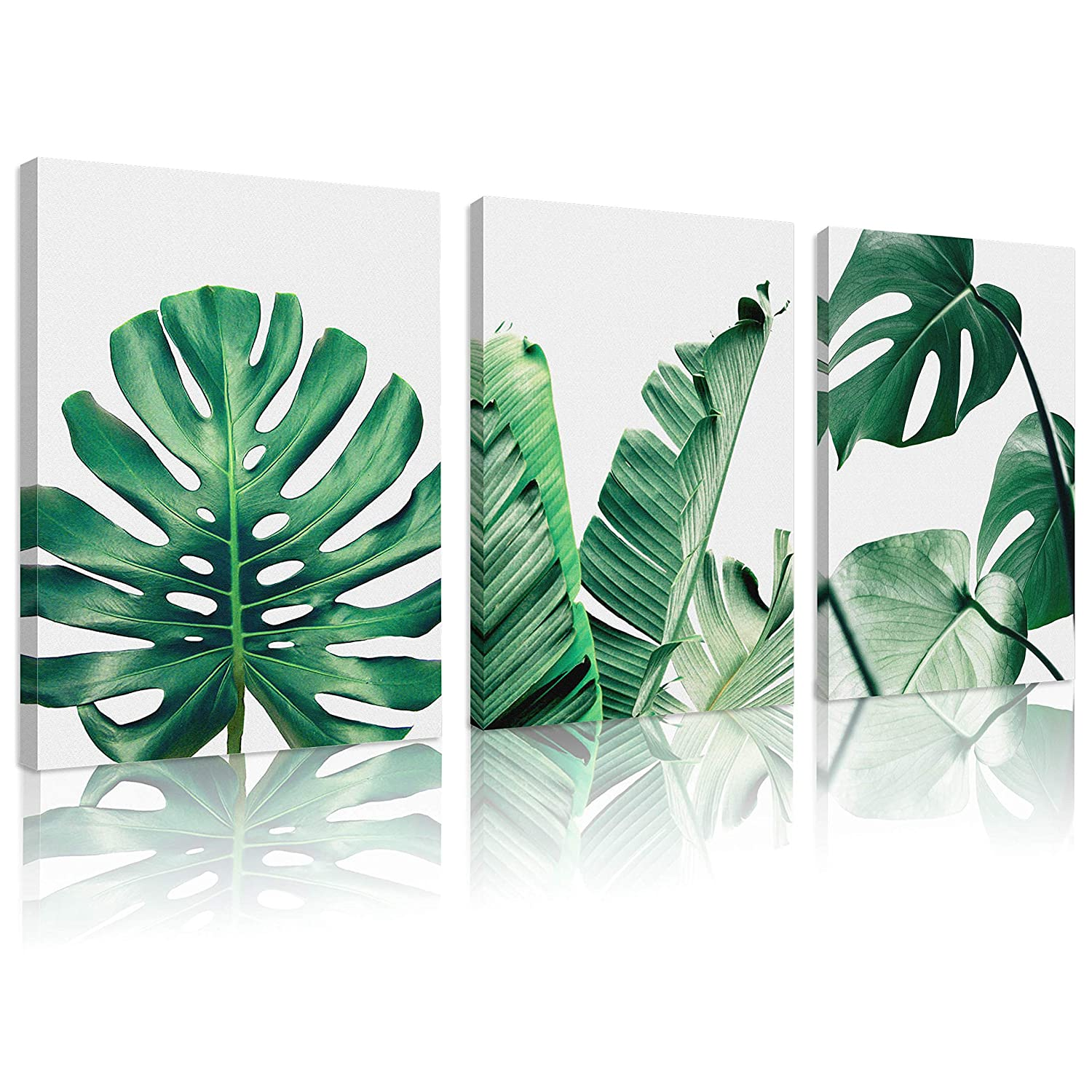 Natural art Simple Green Leaves Canvas Art Tropical Plants Artwork Minimalist Watercolor Painting Wall Decor for Bathroom Living Room Bedroom Kitchen Canvas Prints 12x16inchesx3pcs