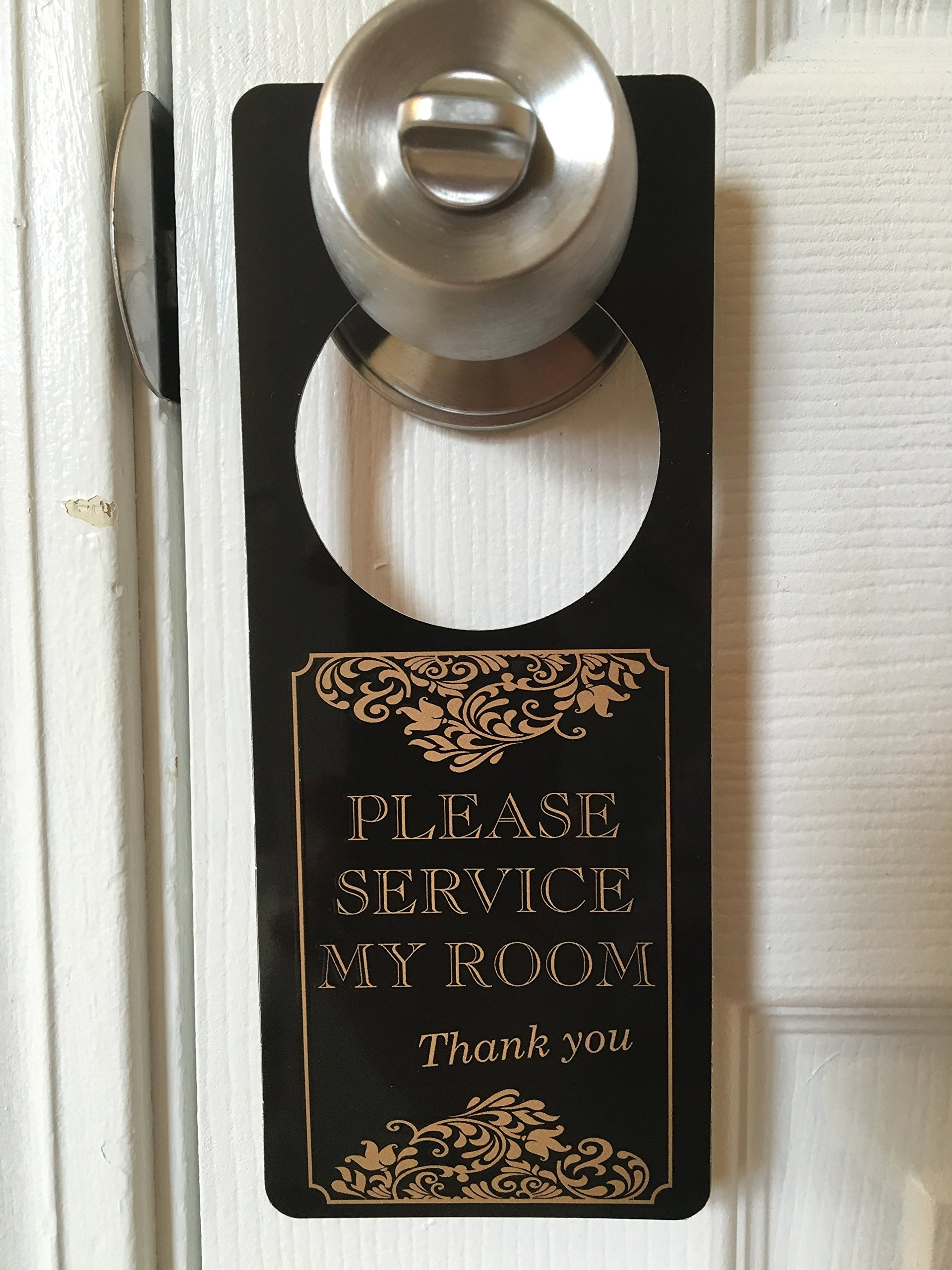 SecurePro Signs Do Not Disturb/Please Service Room Premium Quality PVC Door Hanger; Metallic Gold Text on Solid Black Background; 3.25'' Wide x 8'' Tall (10)