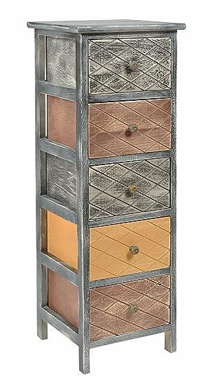 Ts Ideen Kommode Schrank Shabby Schwarz Nachttisch 5 Schubladen Braun Beige  Schlafzimmer Wohnzimmer Kinderzimmer Badezimmer