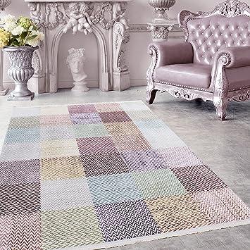 Amazon.de: Hochwertiger Teppich Vintage Stil Kariert Gingham und ...