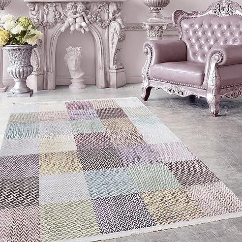 Amazon.De: Hochwertiger Teppich Vintage Stil Kariert Gingham Und