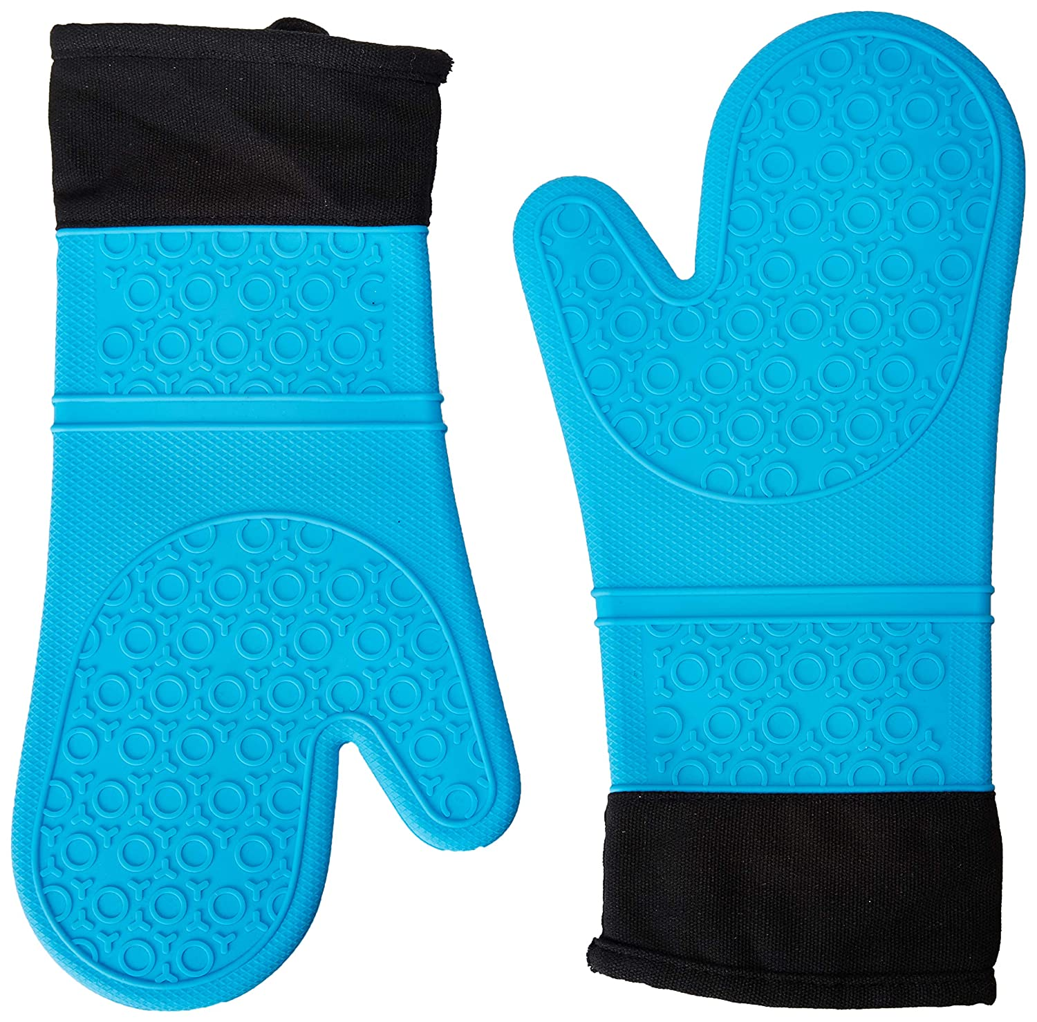 We The Planet Extra Long Premium Silicone Oven Mitts - 1 Pair (2 pc), Blue | Quilted Lining for Comfort, Heat Resistant | Non-Slip Grip for Potholders Kitchen Oven BBQ Grill