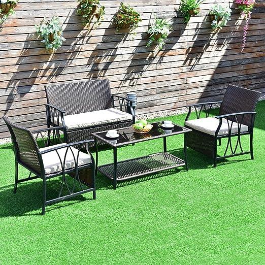 4 pcs al aire libre muebles de mimbre conjunto w/PE cojín – por elección productos: Amazon.es: Jardín