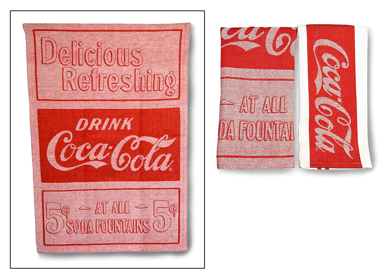 youngs Inc Jacquard Coca Cola Tea Towel Set of 2, Multi