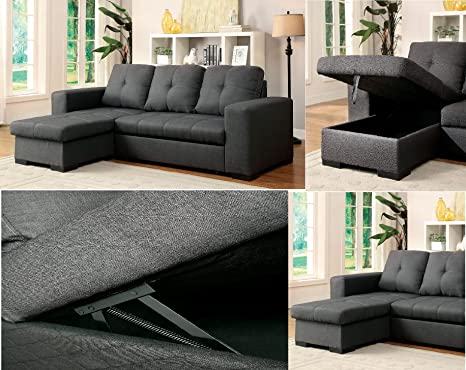 Amazon Com Esofastore Living Room Reversible Storage Chaise Sofa