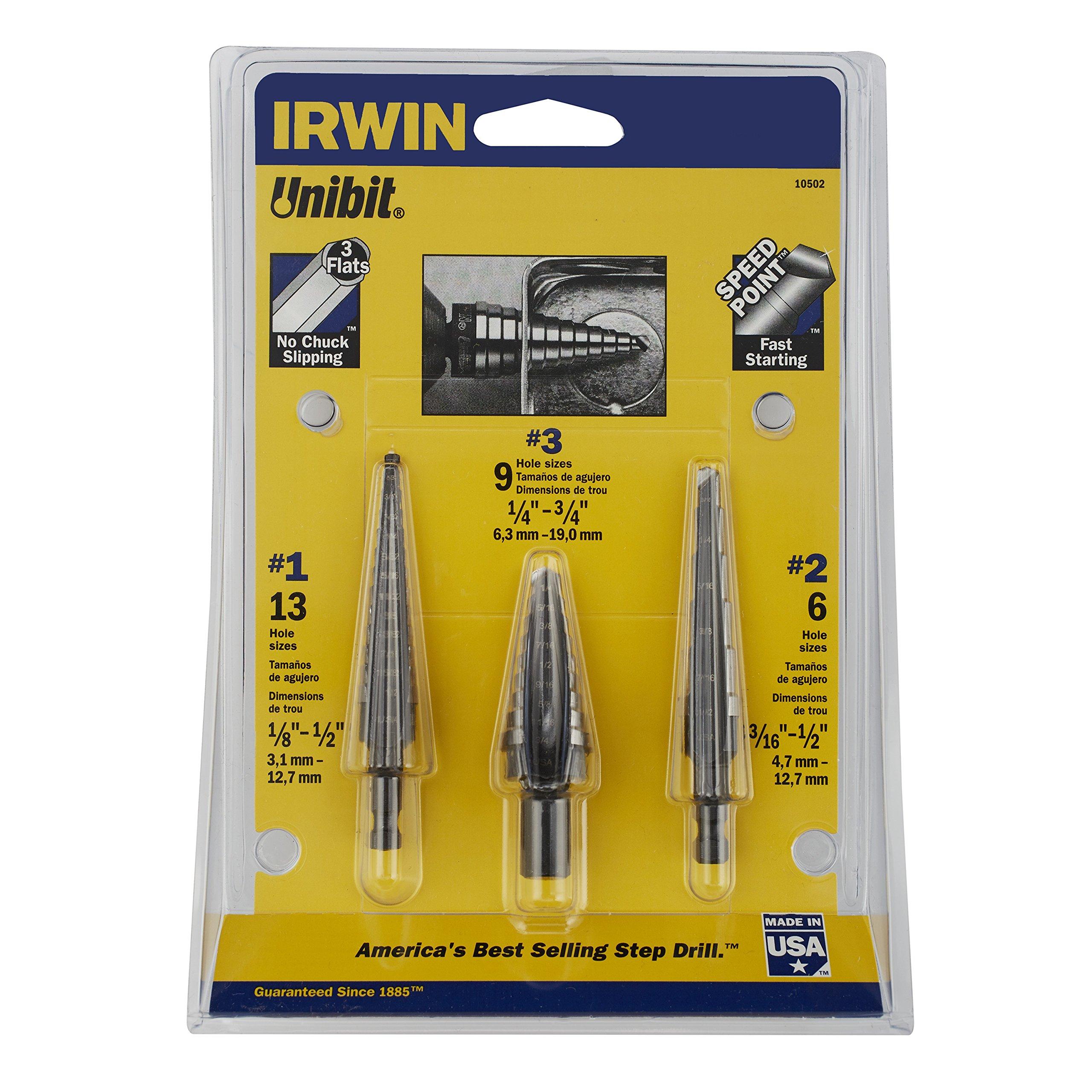 IRWIN 10502ZR Unibit Step Drill Bit Set, 3-Piece by IRWIN