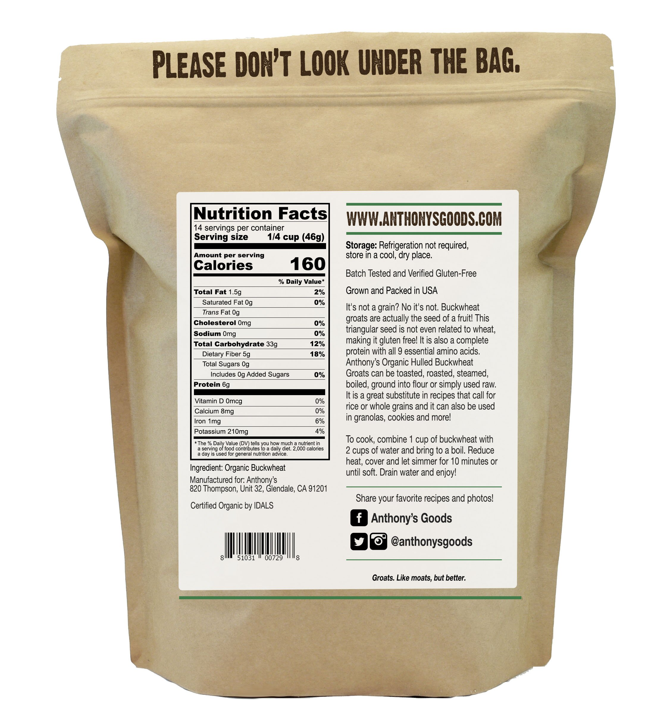 Anthony's Organic Hulled Buckwheat Groats (1.5lb), Raw, Grown in USA, Gluten-Free by Anthony's (Image #1)