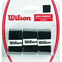Wilson WRZ4040BK Unisex Adult Pro Soft Overgrip Grips - Black, Pack of 3