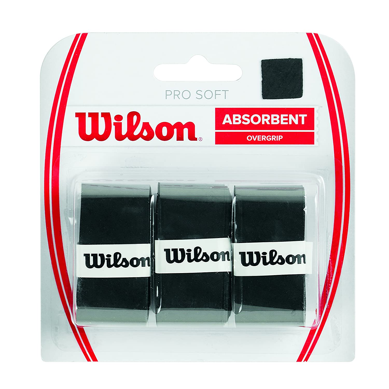 Wilson Pro Soft Overgrip Empuñadura, 3 unidades, unisex, negro ...