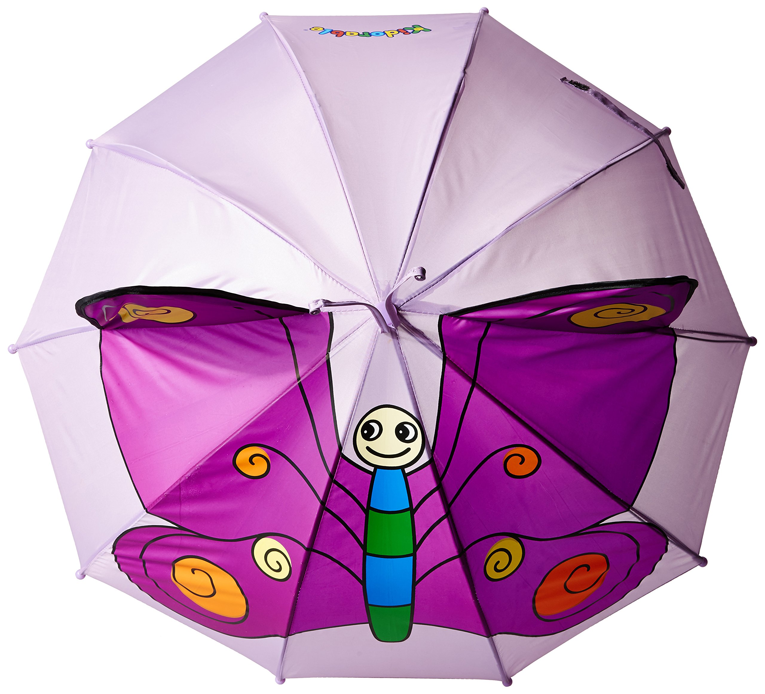 Kidorable Purple Butterfly Umbrella for Girls w/Fun Butterfly Handle, Pop-Up Wings, Antennae, 1 Size by Kidorable (Image #2)