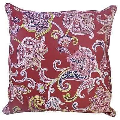 Plantation Patterns 7965-02292400 Outdoor Toss Pillow, 20-inch, Berry Jacobean Red : Garden & Outdoor