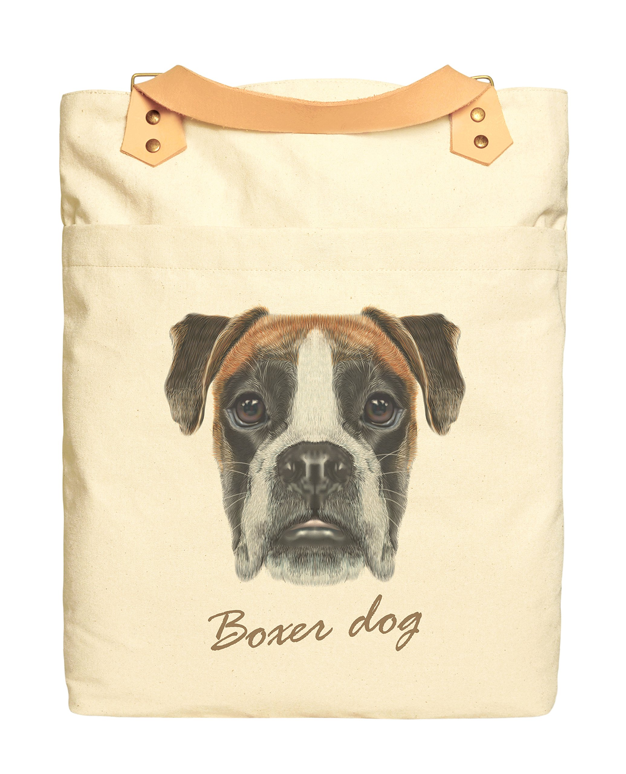Boxer Dog Portrait Print Cotton Canvas Leather Straps Laptop Backpack WAS_34