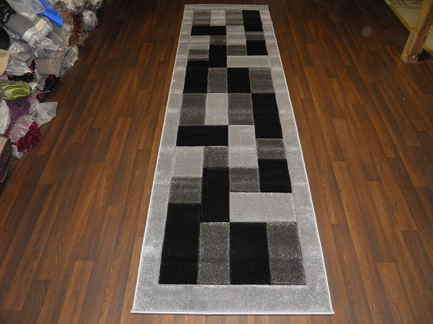 Stunning Block Grey//Black 80x300cm Approx 10x3 Hand Carved Woven Backed Runner Rugs