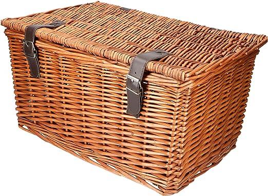 Elegante cesta retro de mimbre para bicicleta con dos correas y ...