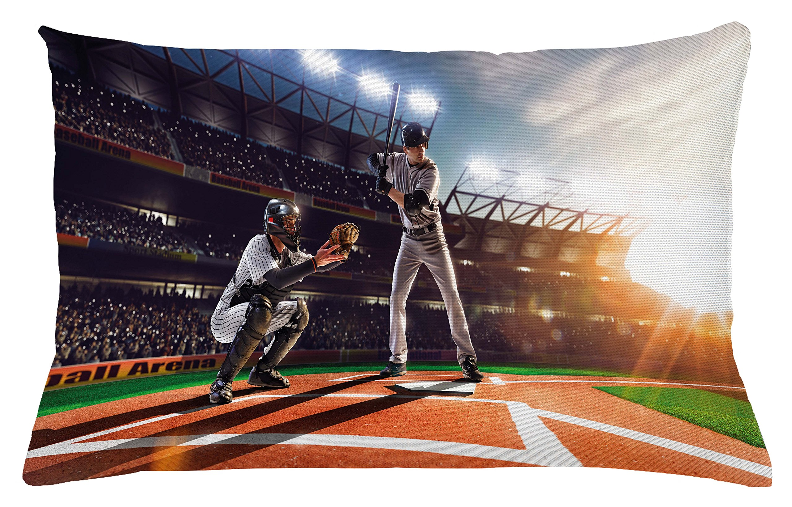 Ambesonne Teen Room Throw Pillow Cushion Cover, Professional Baseball Players in The Stadium Playing The Game Pich Sports Print, Decorative Accent Pillow Case, 26 W X 16 L inches, Multicolor