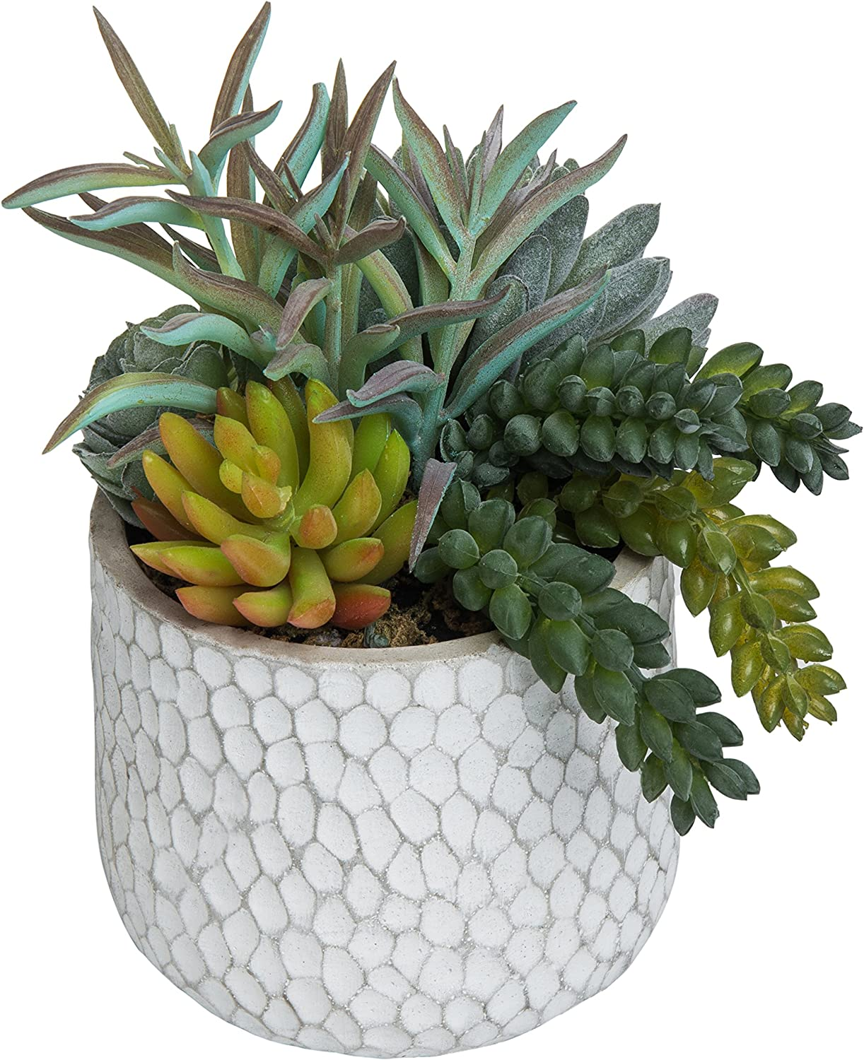 MyGift 8-Inch Artificial Succulent Plant Arrangement in Dimpled Clay Planter