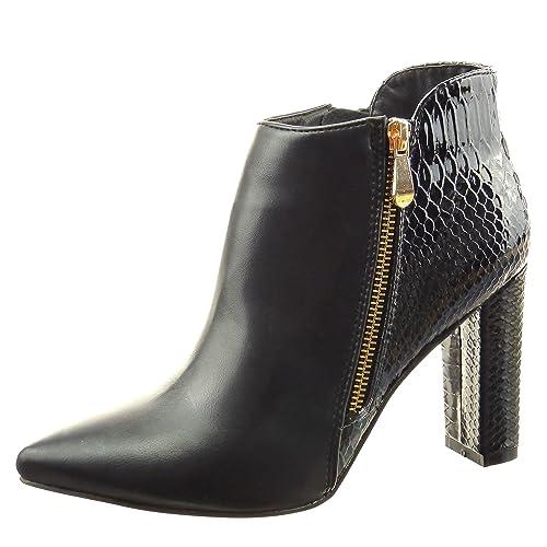 Sopily Zapatillas de Moda Botines Bimaterial A Medio Muslo Mujer Piel de Serpiente Patentes Cremallera Talón