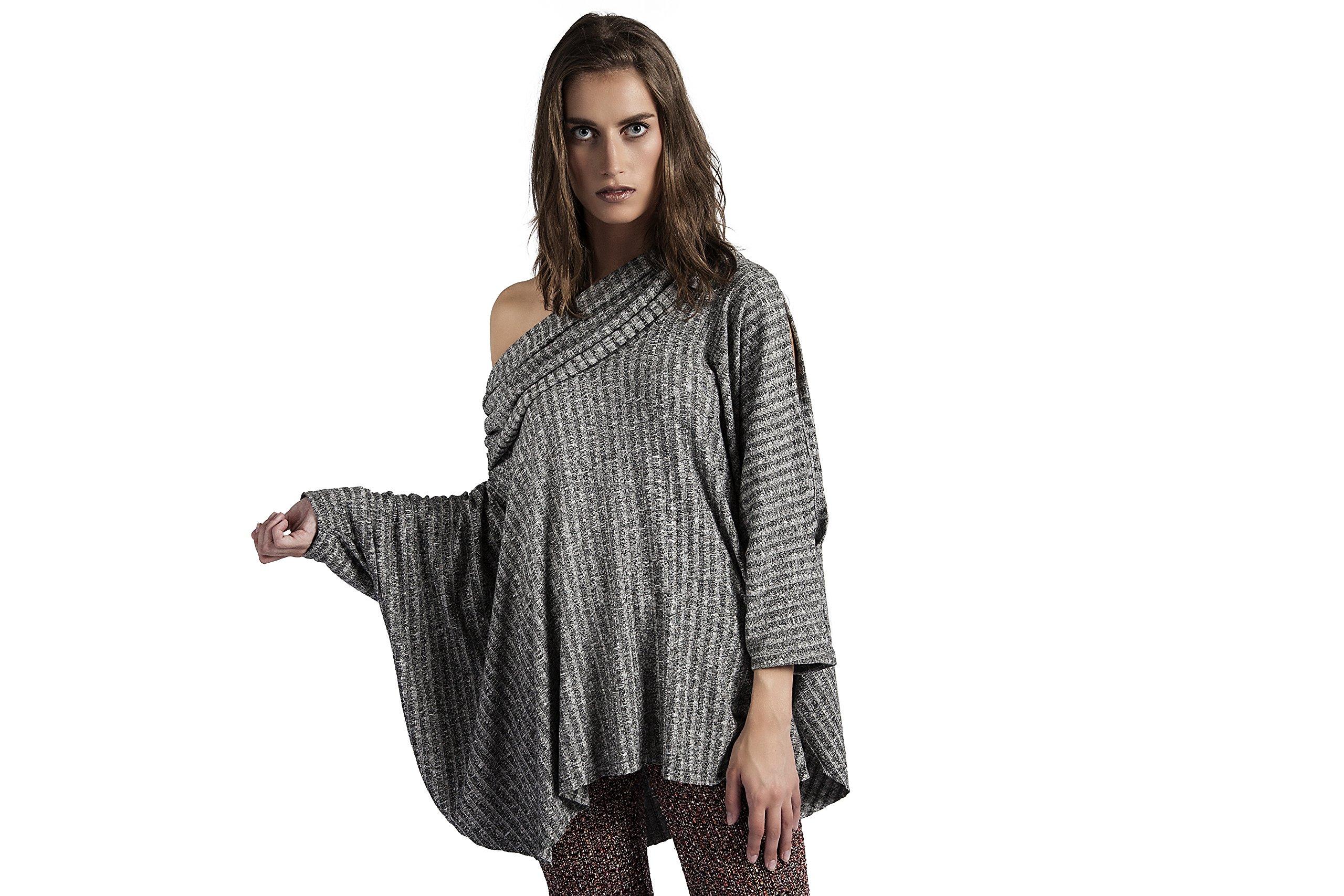 HOODIE PONCH Heidi Hess Designer Poncho Sweatshirt Converts Into Scarf, Hoodie or Top - Charcoal, One Size