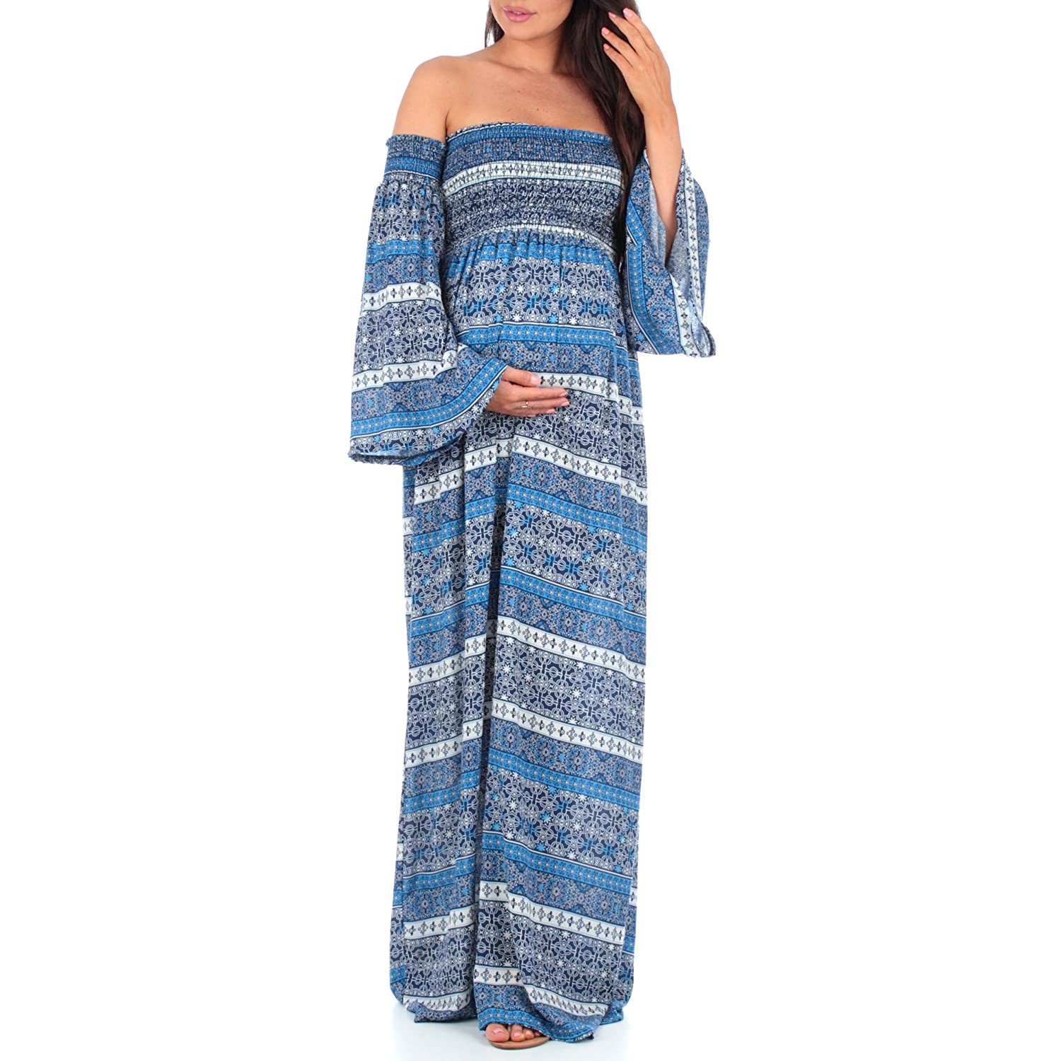 Mother Bee Women\'s Cold Shoulder Bell Sleeve Maternity Dress with ...