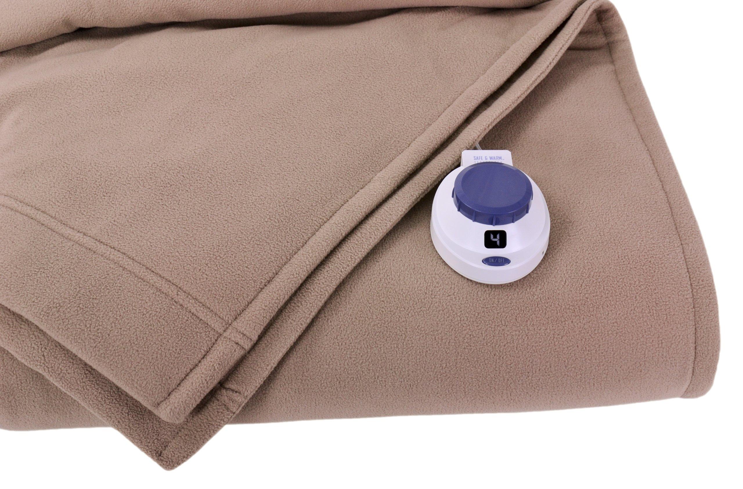 SoftHeat Luxury Micro-Fleece Low-Voltage Electric Heated Full Size Blanket, Beige