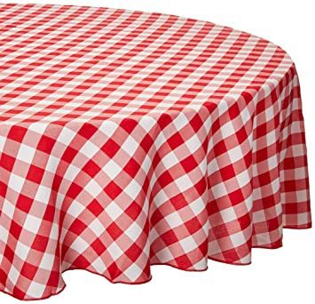LinenTablecloth 90 Inch Round Polyester Tablecloth Red U0026 White Checker